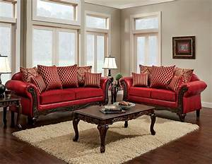 Marcus Traditional Style Red Leatherette Fabric Sofa Set