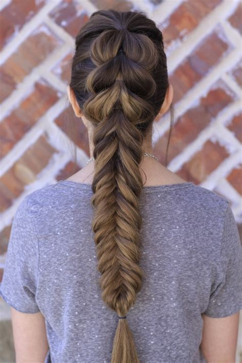 pull  fishtail braid combo cute girls hairstyles