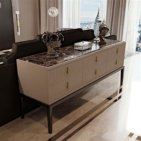 Deco Sideboards by Deco Inspired High End 6 Drawer Buffet Sideboard