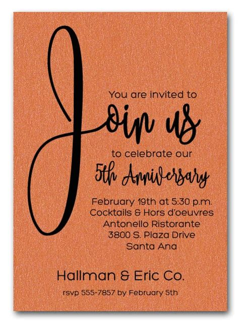 join  shimmery orange business anniversary party invitations