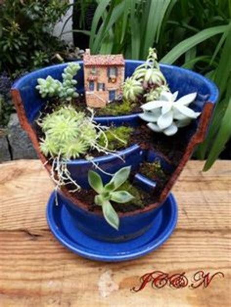 broken flower pot on broken pot garden fairies garden and miniature gardens