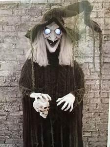 Halloween, Props, Animatronic, Haunted, House, Spirit, Decor, Animated, Witch, Skull, 72, U0026quot