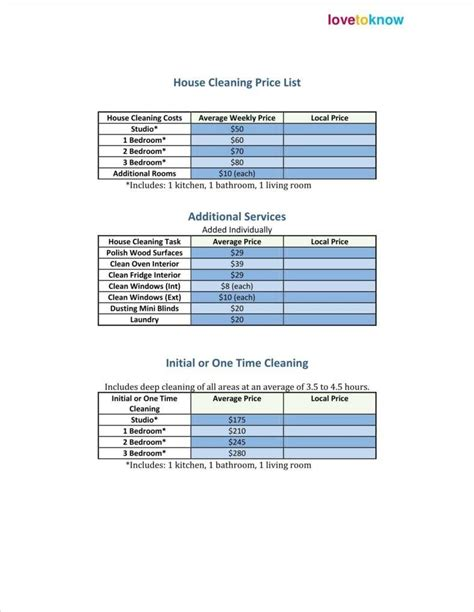 cleaning price list templates  word  excel