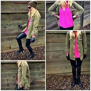 Neon Pink Sweater and Military Jacket