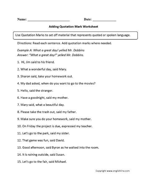 punctuation worksheets quotation mark