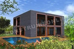 modele maison cubique latest plan de maison etage cubique With beautiful plan de maison cubique 8 maison cubique cube ou carree en ossature bois par votre