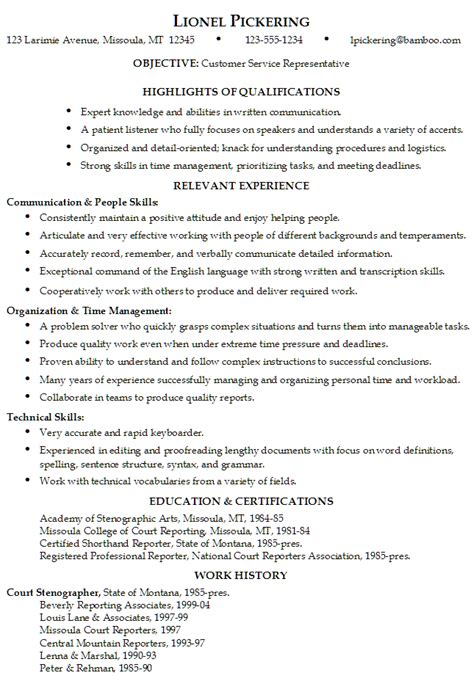 Exles Of Resumes For Customer Service by Resume Customer Service Representative
