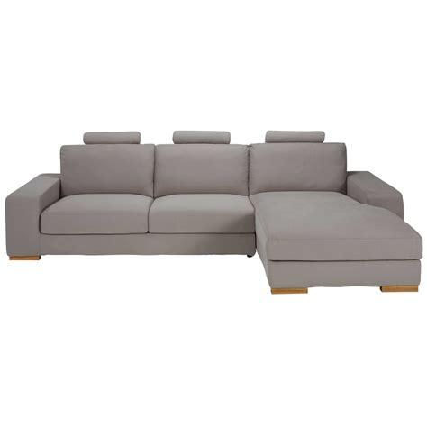 canapé 5 places droit canapé d 39 angle droit 5 places en tissu taupe daytona