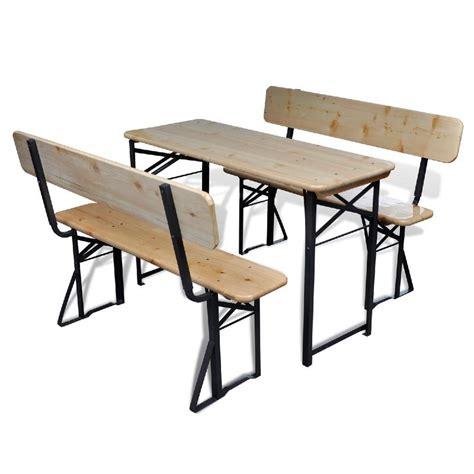 Table De Brasserie Pliante, Bois, Avec 2 Bancs
