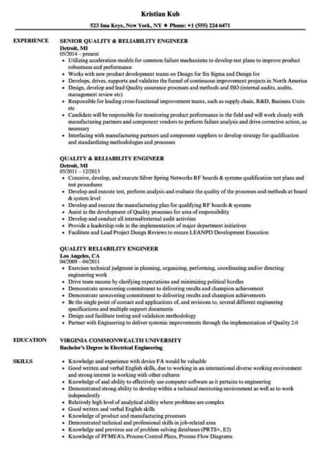 mechanical reliability enginer resume quality reliability engineer resume sles velvet