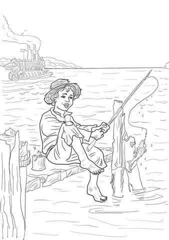 tom sawyer  fishing   mississippi coloring page supercoloringcom