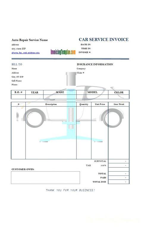 auto repair service invoice  car lift background image