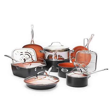 copper pots and pans set bed bath and beyond gotham steel ti cerama nonstick 15 cookware set