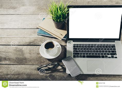 lieu de travail outils de bureau image stock image