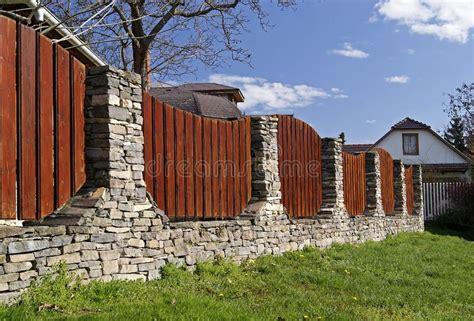 beautiful fence stock image image  rough grey house