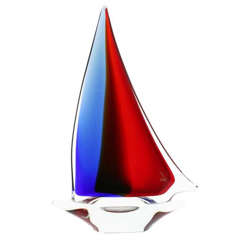 Ebay Sailboat by Glassofvenice Murano Glass Large Sailboat Red Blue Amber