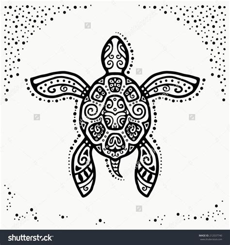 stock vector decorative graphic turtle tattoo style tribal