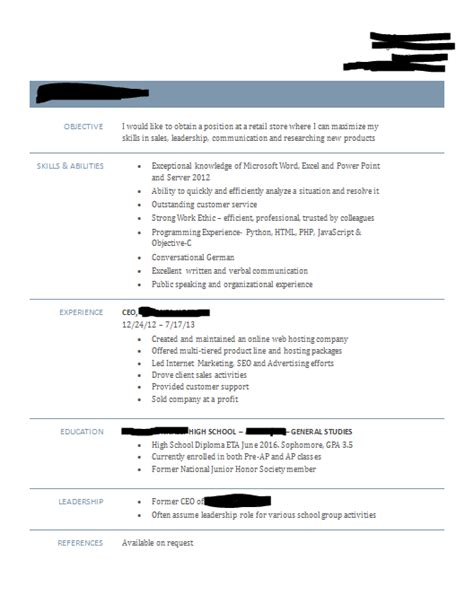 Get Resume Feedback by 16 Year Resume Feedback Appreciated