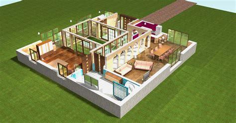 maison plain pied moderne 3d