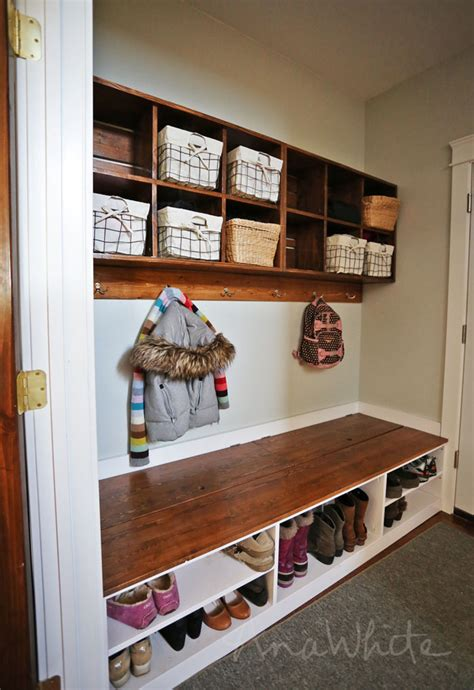 how to build a mudroom bench with cubbies white wall cubby crate shelves diy projects