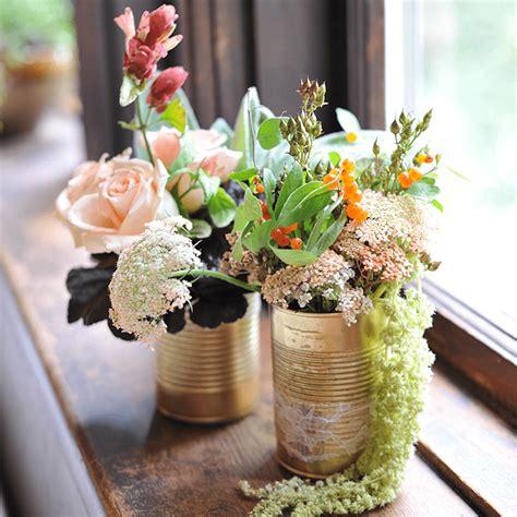 gold can square Flower vase diy Wedding crafts diy Diy