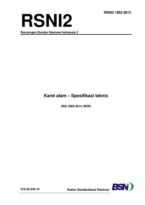 (PDF) RSNI2 Rancangan Standar Nasional Indonesia 2 Karet