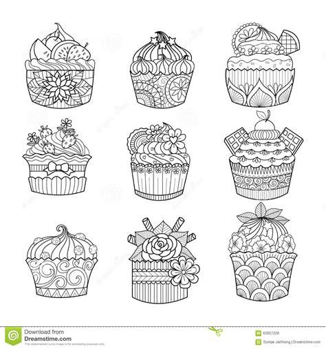 coloriage recette de cuisine petit gâteau tiré par la pour livre de coloriage pour l 39 adulte illustration de vecteur