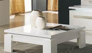 Table Basse Blanc Laqué Et Bois : table basse design carr e blanc laqu ~ Teatrodelosmanantiales.com Idées de Décoration