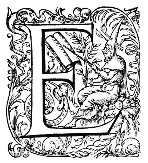 Initial Letter—E - Old Book Illustrations