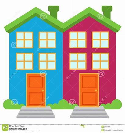 Houses Detached Semi Vector Apartments Brightly Colored