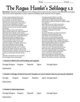 shakespeare s hamlet four soliloquy reading worksheets activities
