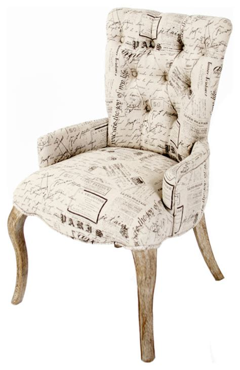 iris tufted vanity dining chair  literary french script farmhouse dining chairs