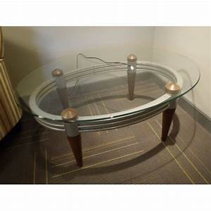 oval glass coffee table w metal frame wood legs With oval glass coffee table metal frame