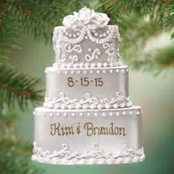 personalized wedding cake ornament christmas miles kimball
