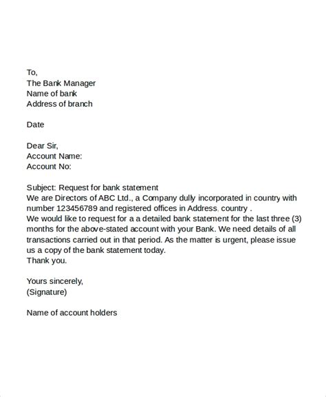 application letter  bank statement request  bank