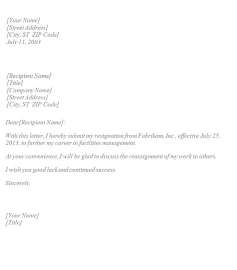 basic resignation letter template sample