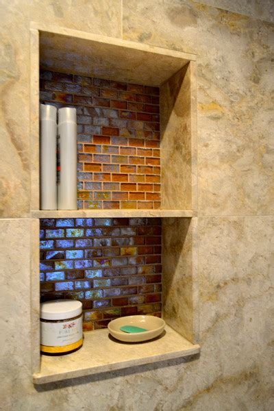 amber glass tile bathroom nook