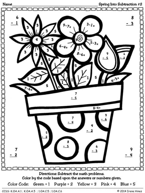 subtraction spring into subtraction color by the code math puzzle printables spring swing
