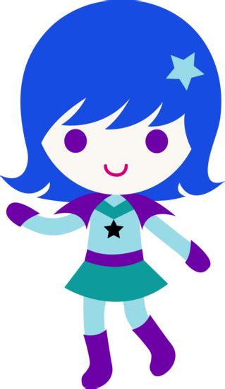 space cadet girl  blue hair  clip art
