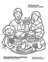 Coloring Dinner Pages Christmas Easter Printable Eating Colouring Clipart Drawing Thanksgiving Restaurant Together Sharing Meal Sheets Cameo Coloriage Repas Dessin sketch template
