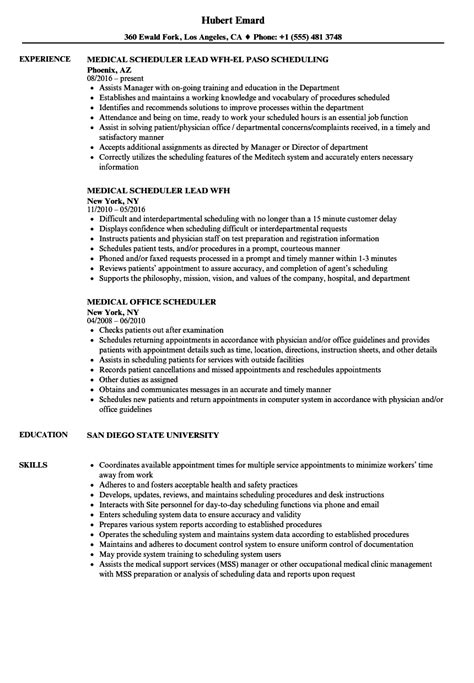 medical scheduler resume samples velvet jobs