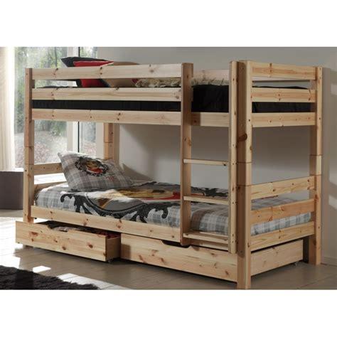 lit superpose lit tiroir 2 lits superpos 233 s en pin couleur bois blanc ou taupe avec