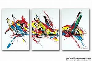 Tableau Contemporain Grand Format : triptyque contemporain gris clair rectangle grand format tendance ~ Teatrodelosmanantiales.com Idées de Décoration