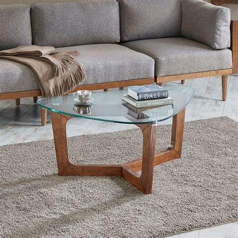 42 wide x 42 deep x 17 inches higheach ottoman measures: Walker Coffee Table Solid Wood, Glass, Pecan, Mid-Century Modern Brown INK+IVY