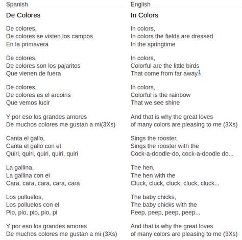 de colores song songs classical