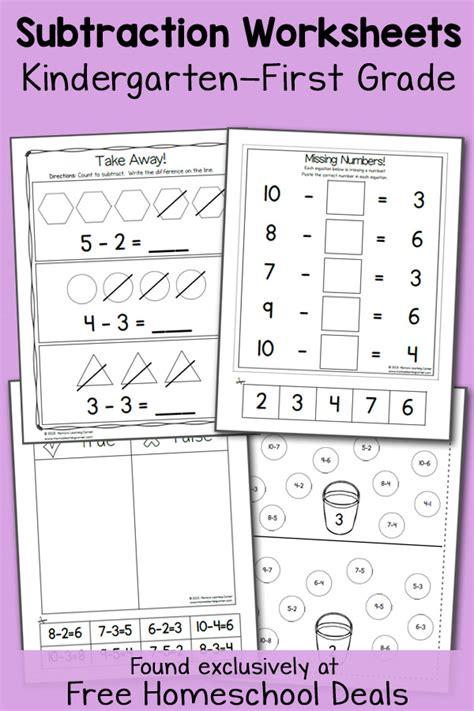 free k 1 subtraction worksheets instant download free homeschool deals