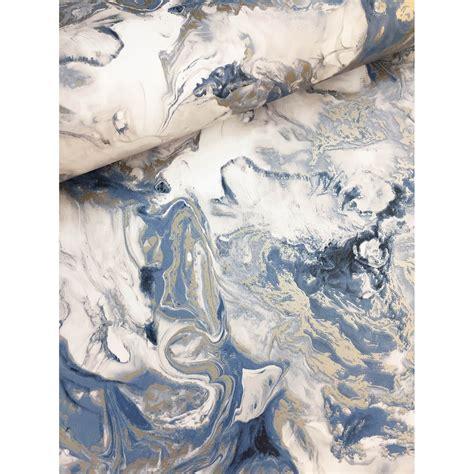 Muriva Elixir Marble Wallpaper Blue And Gold Leekes
