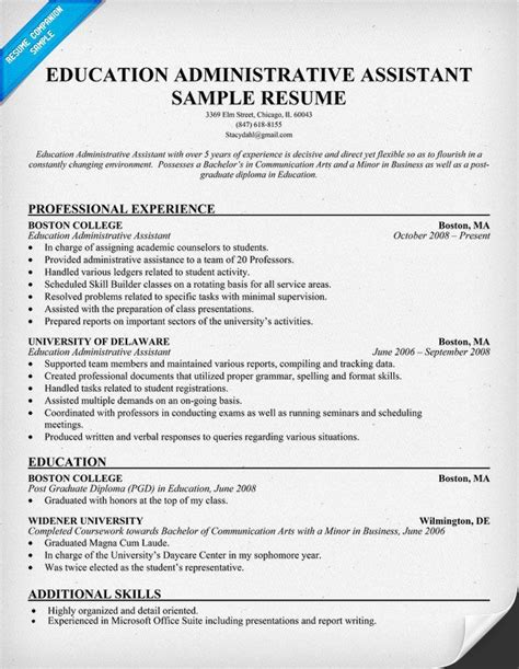 12925 professional administrative resume exles education administrative assistant resume