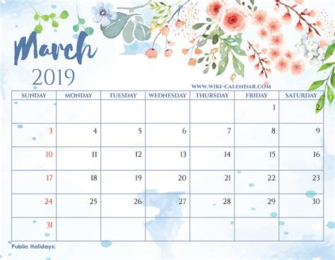 blank march  calendar printable   heart