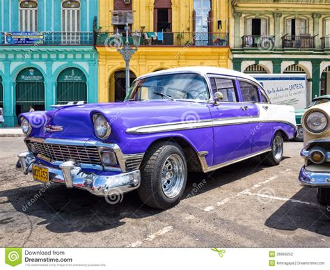 Classic Chevrolet Parked In Old Havana Editorial